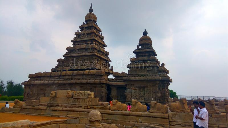 Temple de rivage chez Mahabalipuram images stock