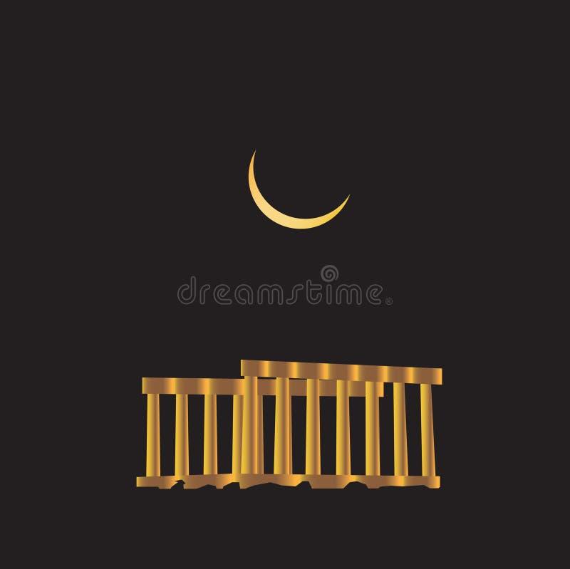 Temple de ruines de bannière de Poseidon illustration libre de droits