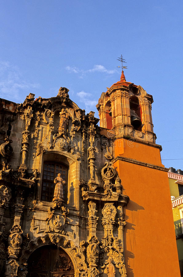 Temple de San Diego- Guanajuato, Mexico. Ornate facade of the Templo de San Diego in the colonial mining town of Guanjuato- Mexico stock image