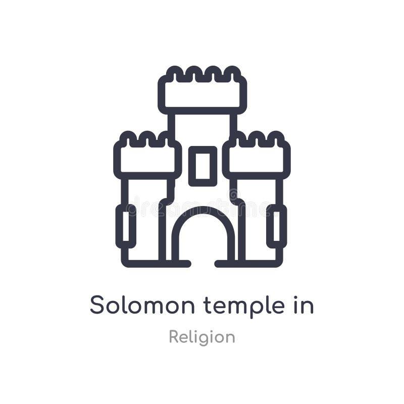 temple de solomon dans l'icône d'ensemble de Jérusalem ligne d'isolement illustration de vecteur de collection de religion solomo illustration de vecteur