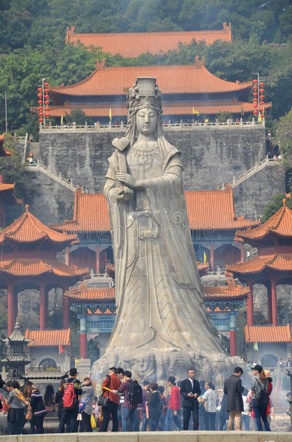 Temple de Thean Hou, statue de Mazu photographie stock libre de droits