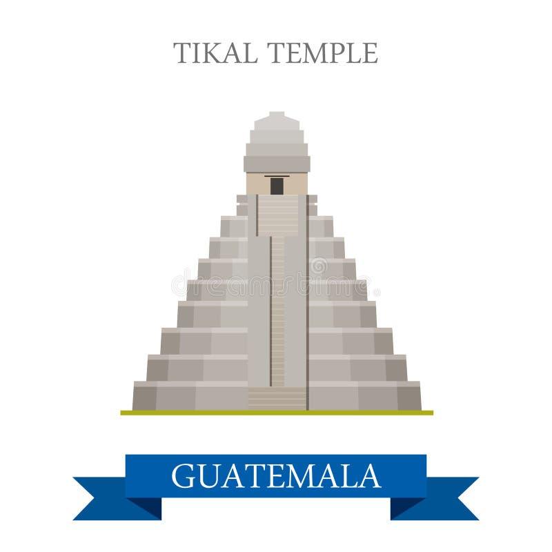Temple de Tikal dans l'illu plat de vecteur de bande dessinée du Guatemala illustration libre de droits