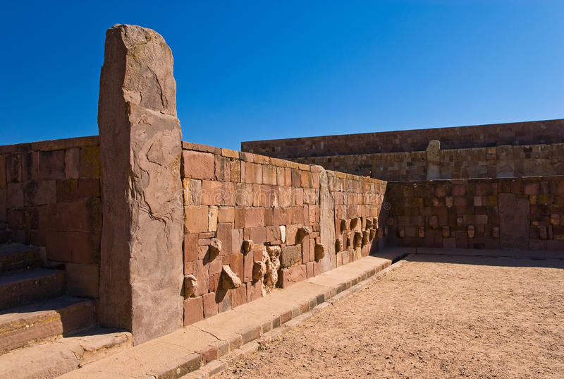 Temple de Tiwanaku, Bolivie image stock