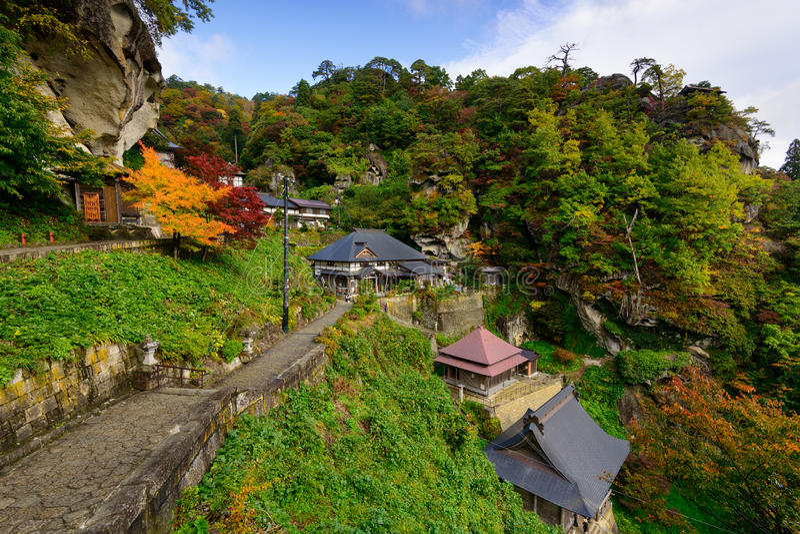 Temple de Yamadera au Japon images libres de droits