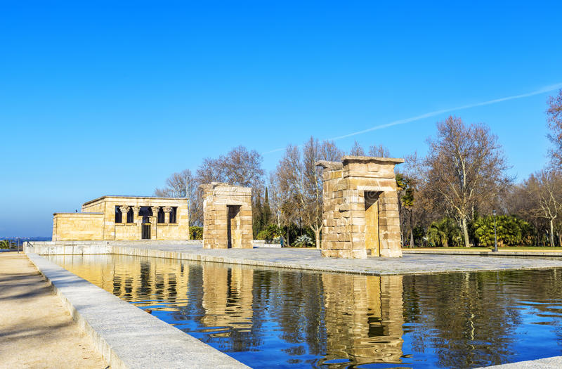 Temple of Debod Egyptian antic architecture in Madrid, Spain.  stock photography
