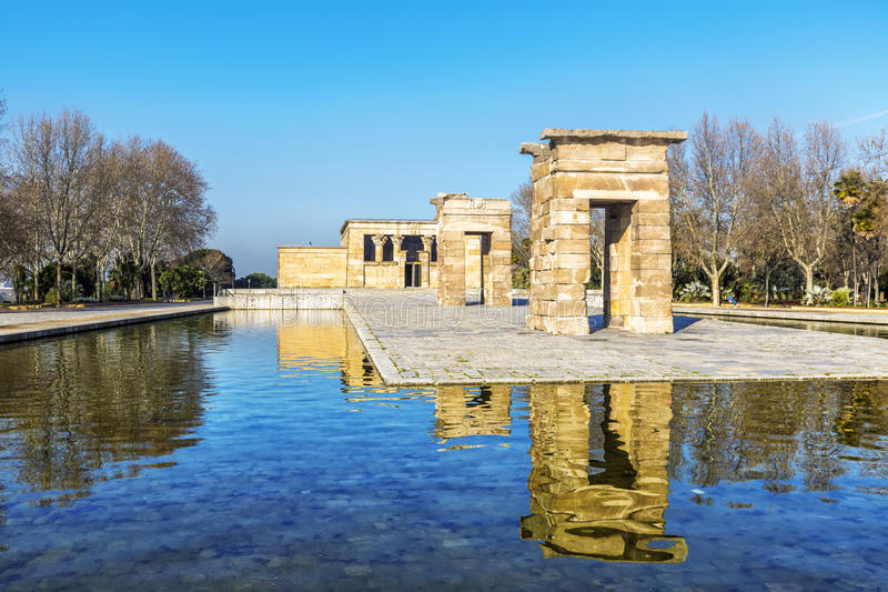 Temple of Debod Egyptian antic architecture in Madrid, Spain.  royalty free stock photos
