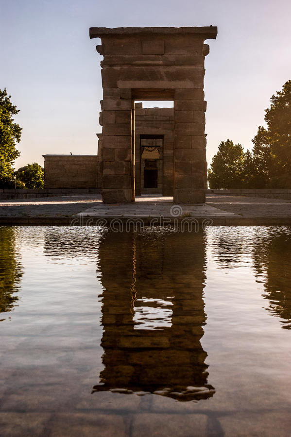 Sunset in the ruins of the Egyptian Temple of Deboh in Madrid, the capital of Spain royalty free stock photo