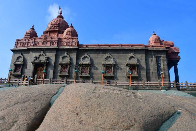 Temple dedicated to Swami Vivekananda, national hero of India. Kanyakumari, Cape Komorin in Tamil Nadu, or Tamil Nadu at the south. Ernmost point of the Indian royalty free stock images