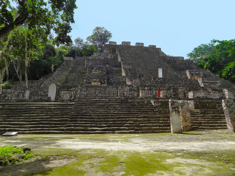 Temple detail at Calakmul royalty free stock image