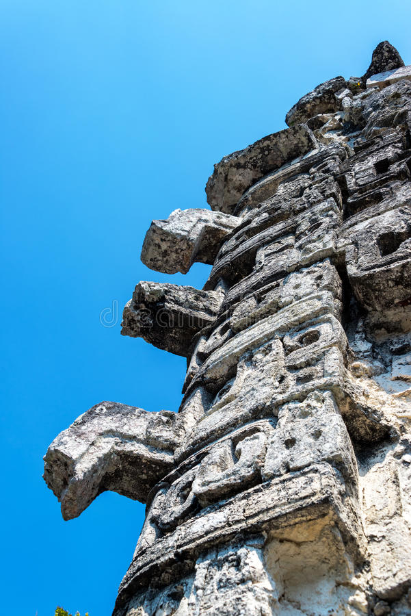Temple Details in Chicanna, Mexico stock images