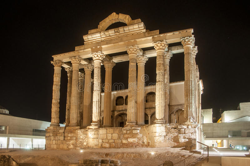 Temple of diana. The roman temple of diana in Merida, Spain stock photo