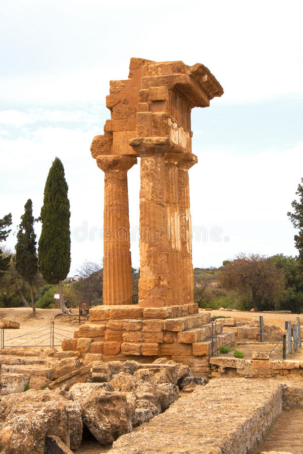 Temple of the Dioscuri, Agrigento, Sicily, Italy. Temple of the Dioscuri in the valley of the temples, Agrigento, Sicily, Italy royalty free stock images