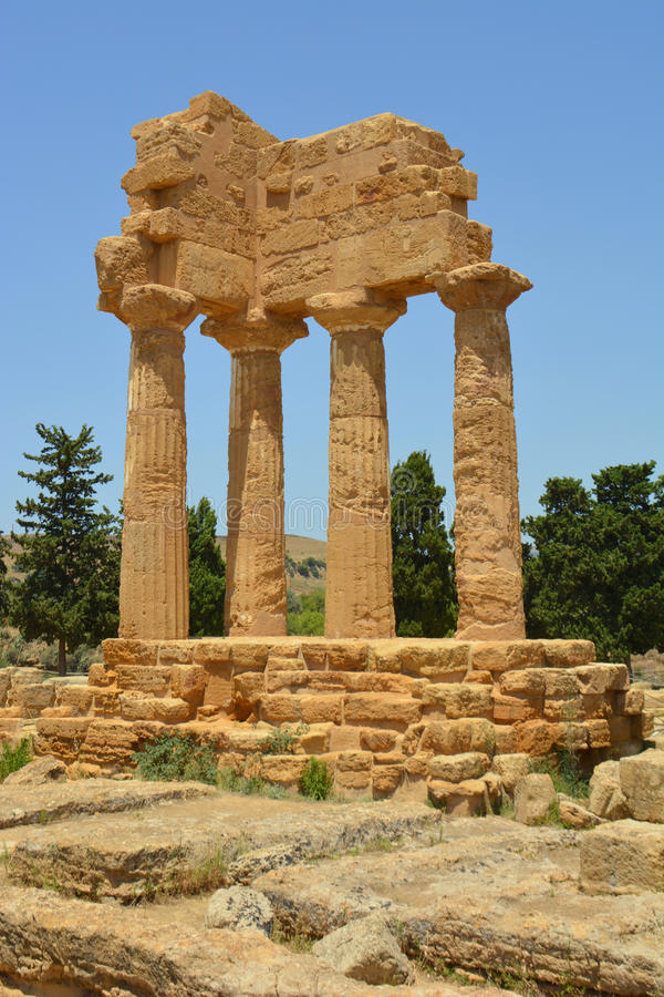 The Temple of Dioscuri Castor and Pollux Agrigento royalty free stock photography