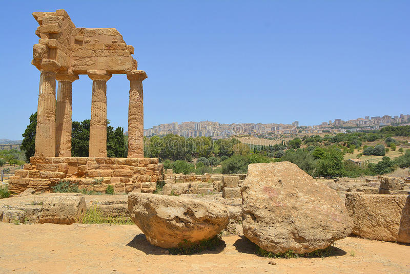 Temple of Dioscuri Castor and Pollux Sicily Italy stock image