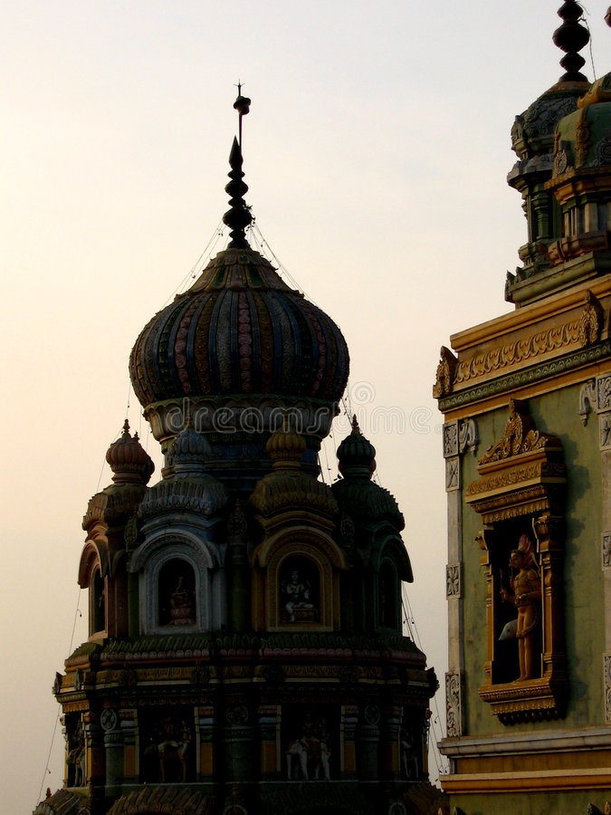 Temple Dome. A beautiful dome of an ancient Indian temple at sunset stock photography