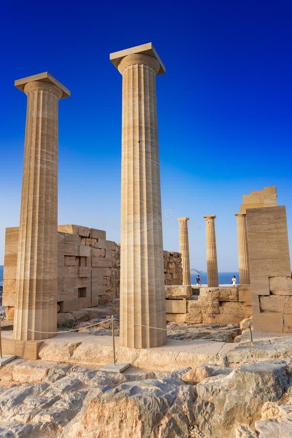 Temple dorique d'Athena Lindia sur l'Acropole de Lindos Rhodes, GR photo stock