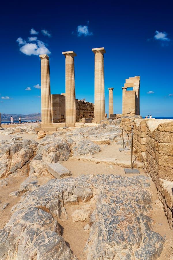 Temple dorique d'Athena Lindia sur l'Acropole de Lindos Rhodes, GR photos libres de droits
