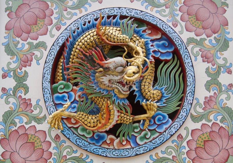 Kanchanaburi, Thailand, Chinese temple dragon decoration at Wat Thawonwaram royalty free stock images