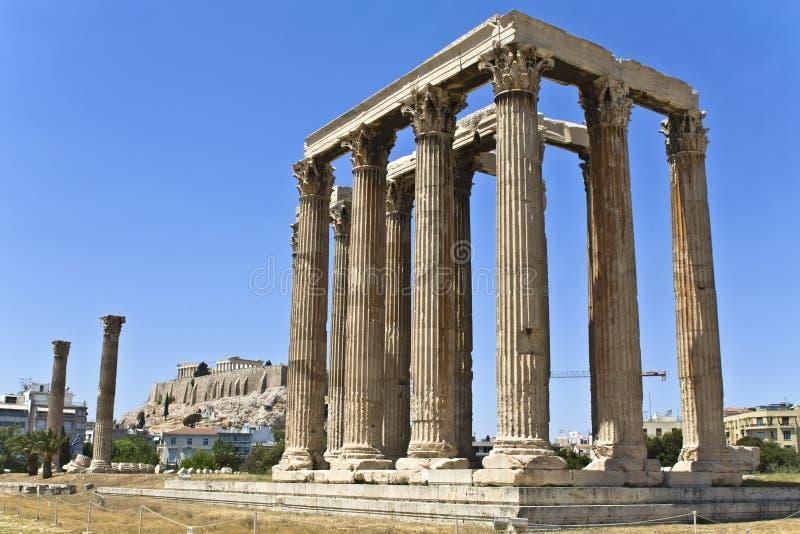 Temple du Zeus olympique à Athènes photographie stock libre de droits