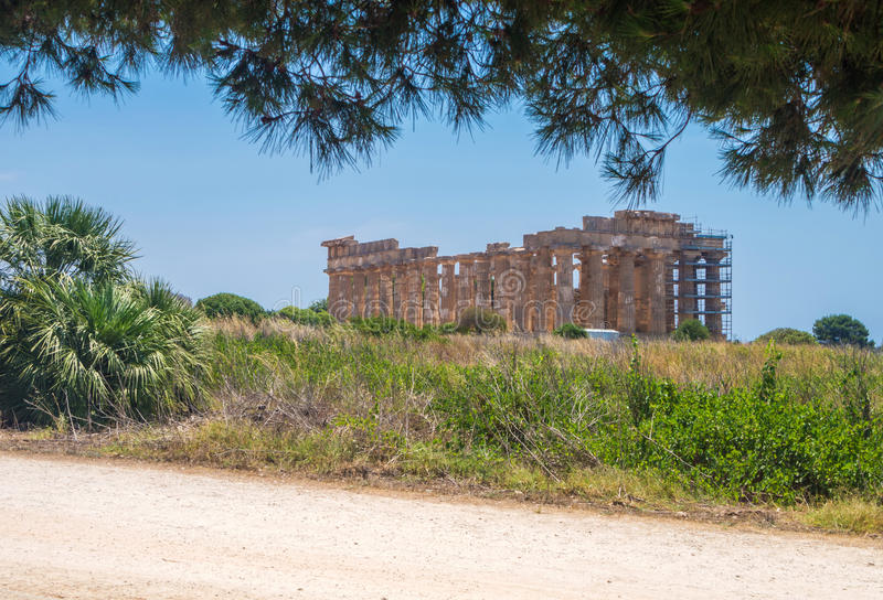 Temple E at Selinunte in Sicily is a greek temple of the doric o stock images