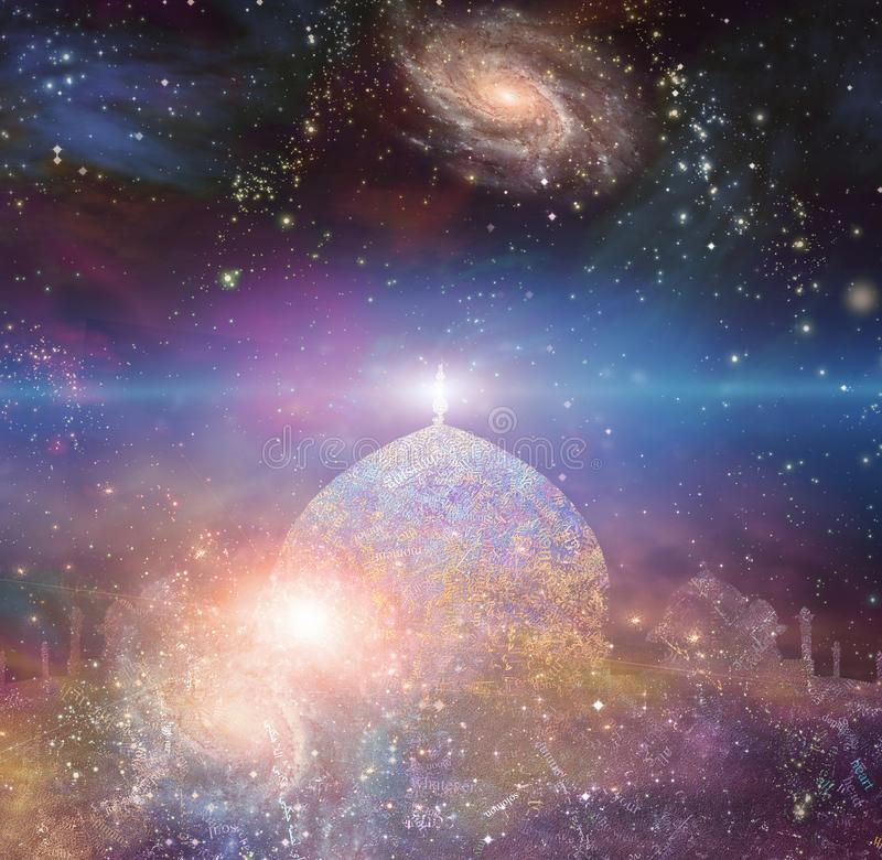 Temple of the universe. Temple in eastern style. Universe with galaxies on a background. Some elements image credit NASA stock illustration