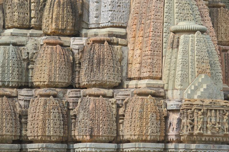 Details of ancient temple shikhara. This temple is of eleven and twelve century. beautiful artistic carving on the stone providing beauty to the shikhara of stock photography