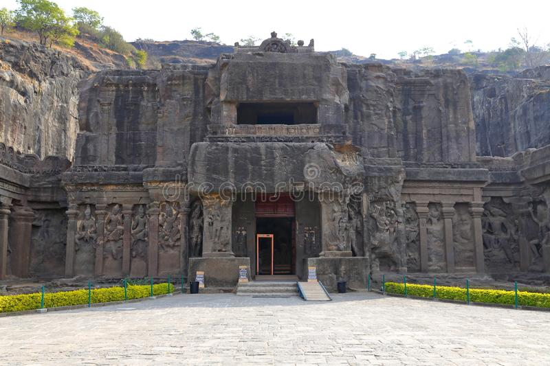 Temple of Ellora caves, the rock-cut temples, AURANGABAD, MAHARASHTRA in India stock photo