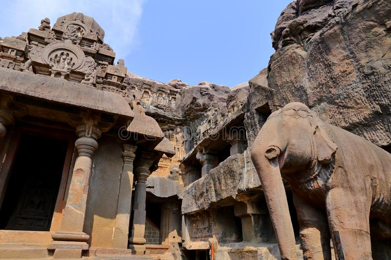 Temple of Ellora caves, the rock-cut temples, AURANGABAD, MAHARASHTRA in India. Temple of Ellora caves, the rock-cut temples, AURANGABAD, MAHARASHTRA in central stock photo