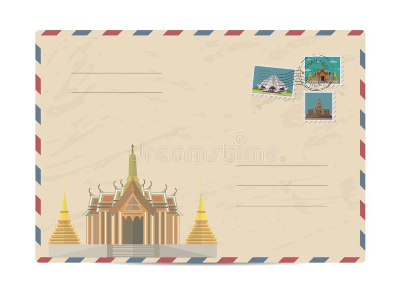 Vintage postal envelope with stamps. Temple of Emerald Buddha in Bangkok, Thailand. Postal envelope with architectural composition, postage stamps and postmarks vector illustration
