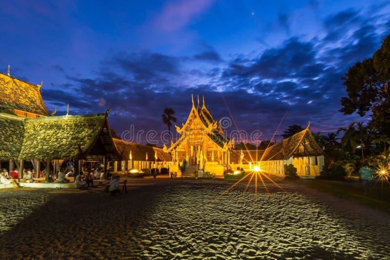 Temple en bois de Wat Ton Kain Old photographie stock