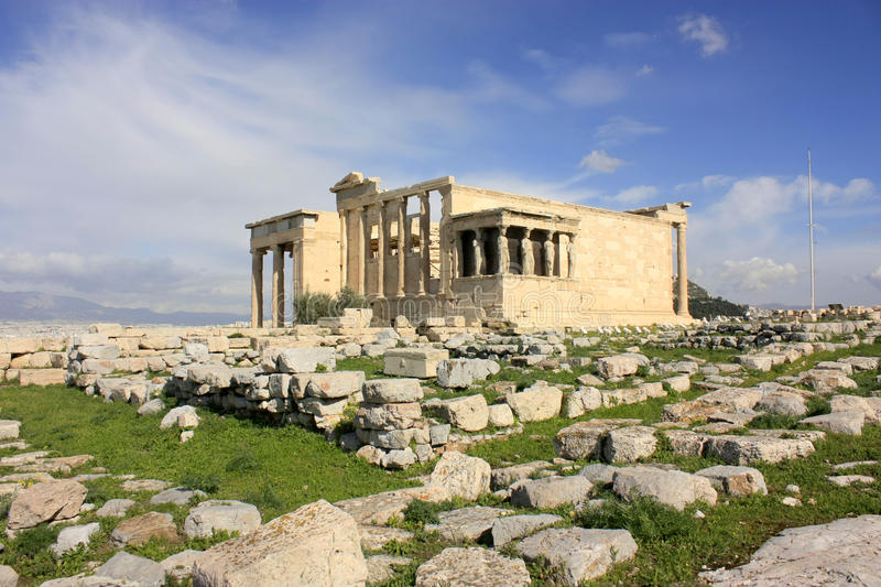 Temple of Erechtheum. Erechtheion is an ancient Greek temple on the north side of the Acropolis of Athens in Greece stock images