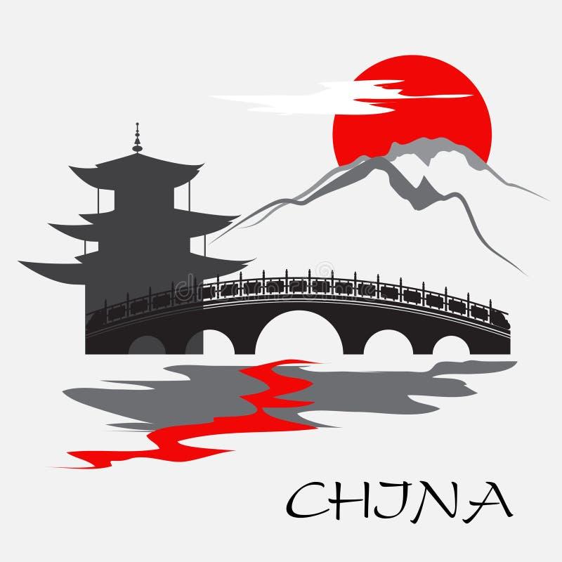 Temple et monastère de la Chine illustration libre de droits