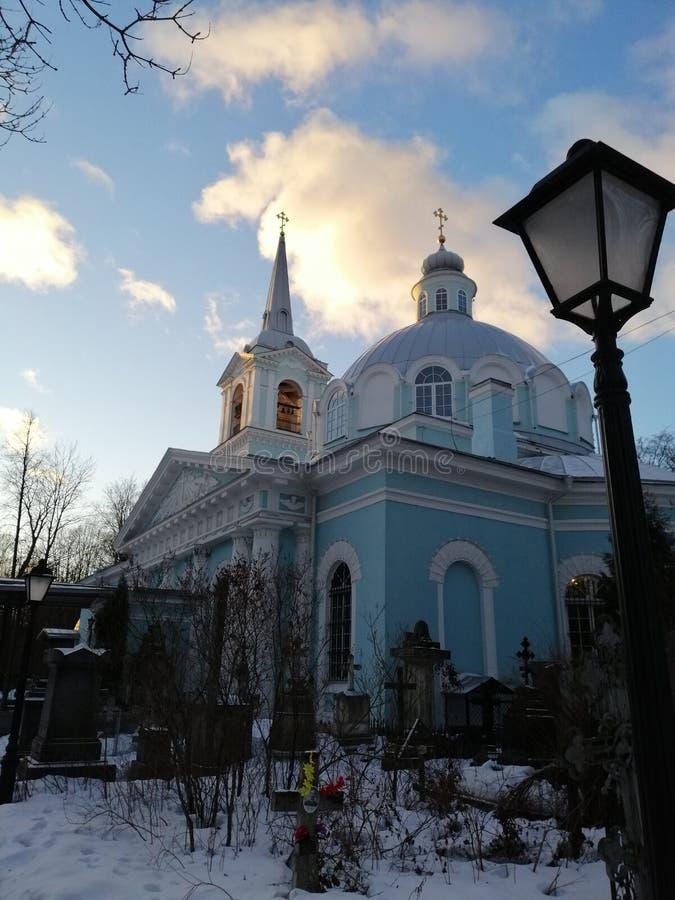 Temple et réverbère bleus photos stock