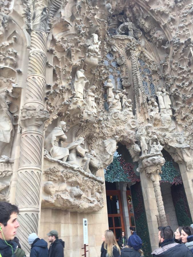 Temple expiatoire de ` de Sagrada Familia du ` saint de famille, Sagrada FamÃlia, site archéologique, histoire antique, poule-de- images stock