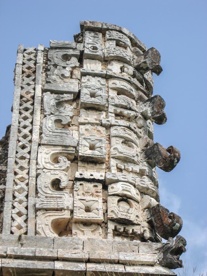 Temple Facade in Uxmal Yucatan Mexico stock image