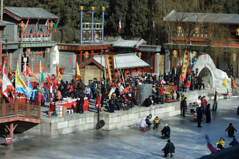 Temple fair, Celebratioin of Chinese New Year stock photography