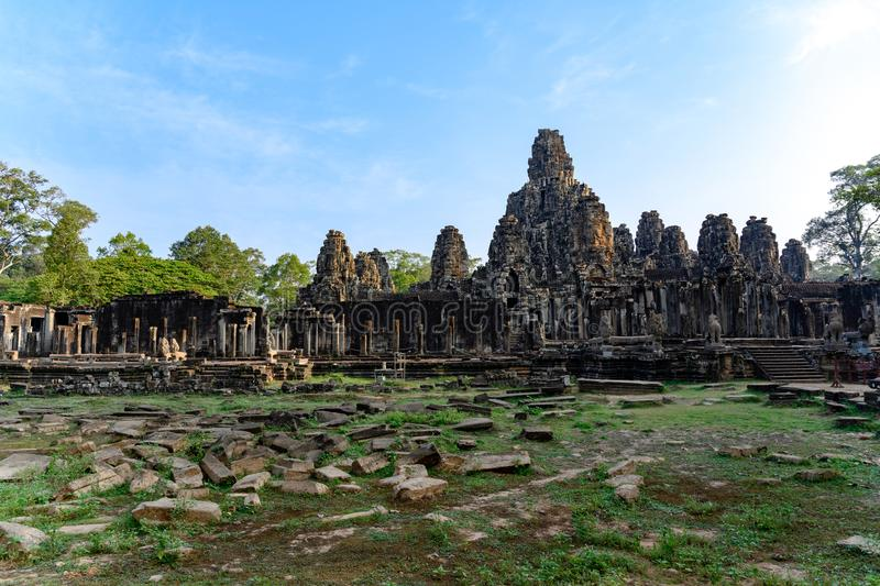 Khmer Temple of Angkor Thom, Cambodia. Angkor Thom was the last and most enduring capital city of the Khmer empire. Temple of famous Angkor Thom - what means stock photo