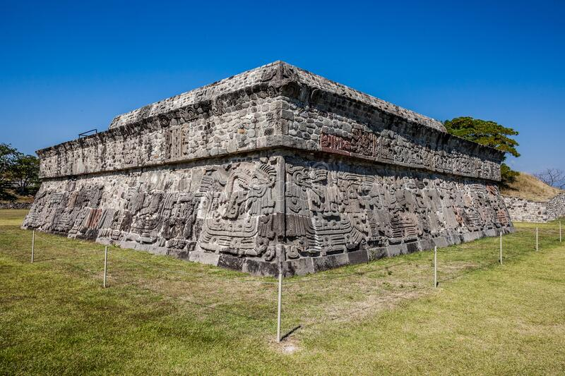 Temple of the Feathered Serpent in Xochicalco. Archaeological site in Cuernavaca, Mexico. With nobody stock photos