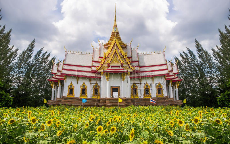 Download Temple On Field Of Sunflower Stock Image - Image: 33353641