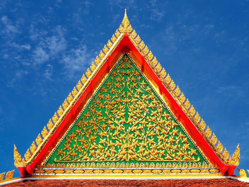 Temple gable details at Wat Srikhet Nantharam. In Nonthaburi province of Thailand stock photo