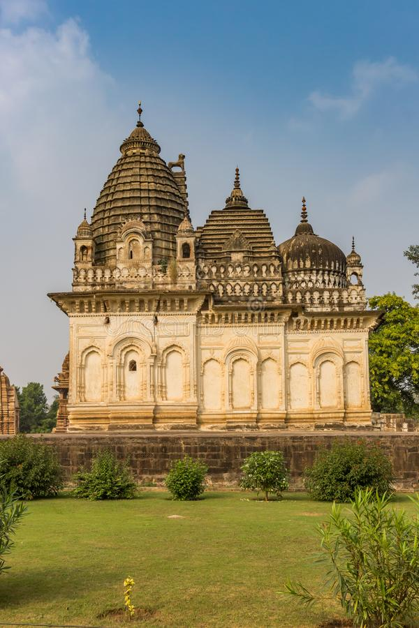 Temple and garden in the historic city Khajuraho royalty free stock photos