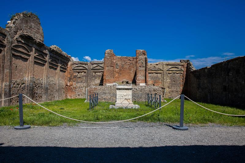 Temple of Genius Augusti at the ancient city of Pompeii. The Temple of Genius Augusti at the ancient city of Pompeii royalty free stock photos