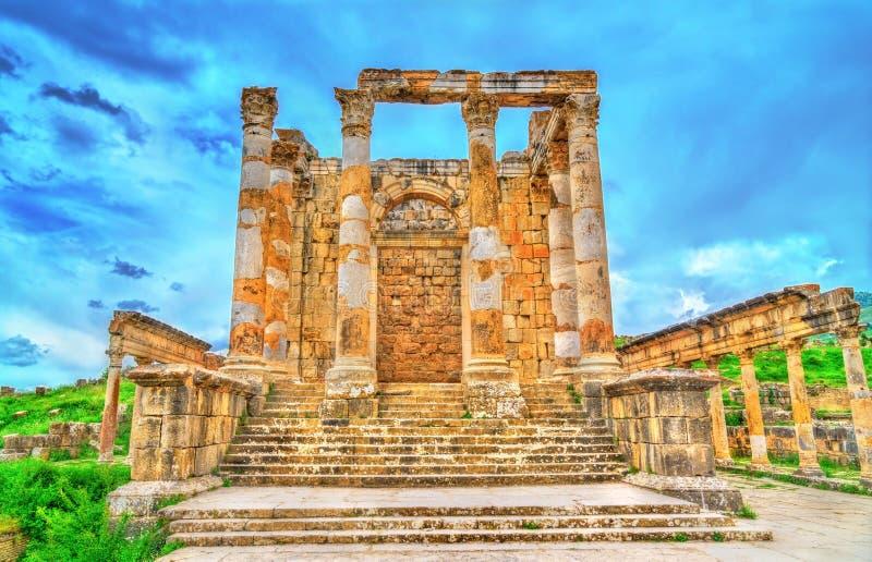 Temple of Gens Septimia at Djemila in Algeria. Temple of Gens Septimia at Djemila. UNESCO world heritage in Algeria royalty free stock image