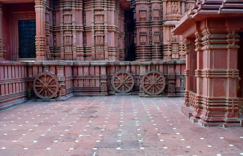Temple geometrics. An ancient Hindu temple made of red stone