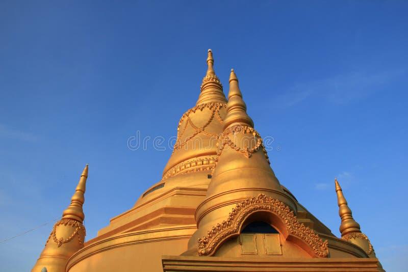 Temple with gold pagoda in Battambang, Cambodia. royalty free stock images