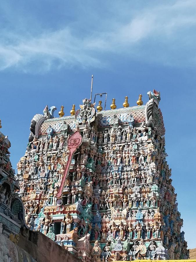 Temple gopuram. Wen the background is gvn more preference royalty free stock photos