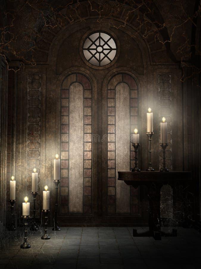 Temple gothique avec des épines illustration de vecteur