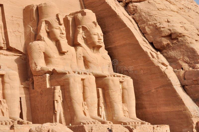 Temple grand d'Abu Simbel en Egypte images libres de droits