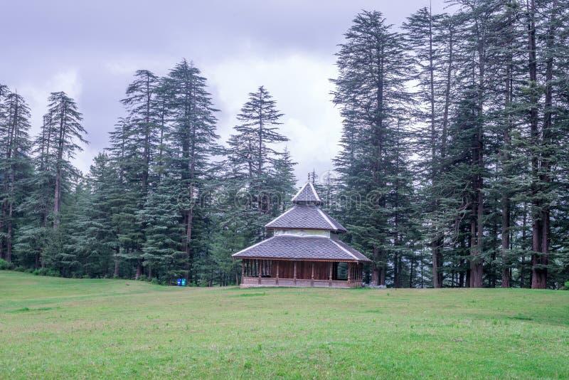 A Temple in Green meadows in himalayas, Great Himalayan National Park, Sainj Valley, Himachal Pradesh, India. Photo of Temple in Green meadows in himalayas stock photos