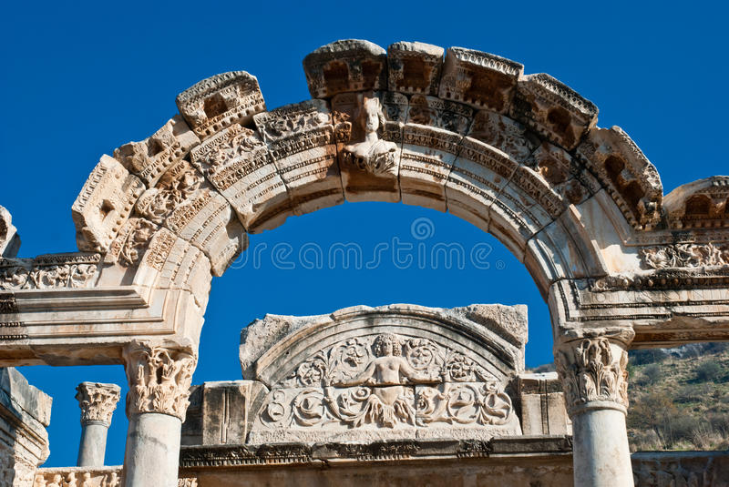 Temple Of Hadrian In Ephesus(Efes)from Roman Time Stock Photo
